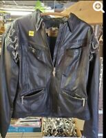 Vintage Women's Harley Davidson Leather Jacket X-Large Black Chains Soft Zip Up