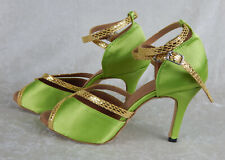 WOMEN'S GREEN SALSA BALLROOM TANGO SATIN DANCE SHOES 3.5