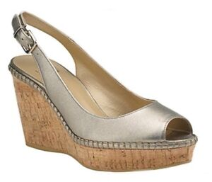 STUART WEITZMAN AUTH $399 Women Metallic Leather Cork Wedge Jean Slingback Sz 7