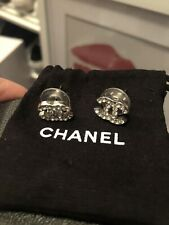 authentic chanel cc logo earrings