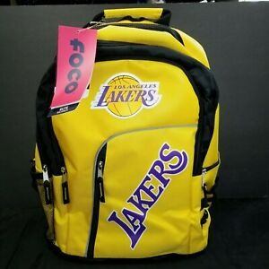 Los Angeles Lakers Elite NBA Backpack Forever Collectables Yellow Black Champs