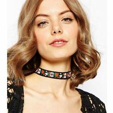 Black Boho Collar Chain Choker Necklace Fabric Ribbon Embroidered Flower