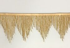 "1 Yard 6.5"" Gold Glass SEED Bead Bugle Beaded Fringe CHEVRON Lamp Costume Trim"