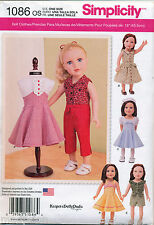 "SIMPLICITY SEWING PATTERN 1086 18"" RETRO STYLE '50s DOLL CLOTHES, DRESSES: SKIRT"