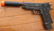 Airsoft Spring Pistol W/Barre Extension, Safety Glasses 230 FPS