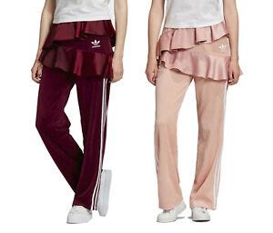 adidas Originals x J KOO Women's Velour Trefoil Ruffle Track Pants Velvet Satin