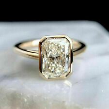 14k Yellow Gold Engagement Rings Halo Style White 2.21 Ct Radiant Brilliant Cut