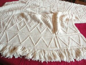 "Afghan Hand Crochet BLANKET THROW  Fringed Large 52""X 91"" Cream Color"