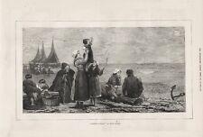 1876 PRINT WAITING ON SHORE FISHERMENS RETURN FATHERS COMING by HENRI BOURCE b25