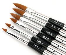 6 X Professional Acrylic Nail Art Brush Pen Detachable Lid (No.2 4 6 8 10 12)