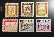 Liberia 1955 #347-349 C88-C90 Sports MNH OG