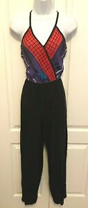 Vintage Up Beat early 70s Disco Abstract Print Jumpsuit size 9/10