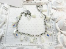 Liz Palacios Signed Mother of pearl Drops & Swarovski elements Crystal Bracelet