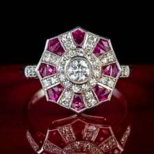 Art Deco Spectacular Octagon-Shaped Cluster Ring With Pink Rubies & White Zircon