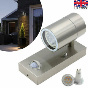 Stainless Sconce Outdoor LED Wall Light Up Down Lamp with PIR Motion Sensor UK