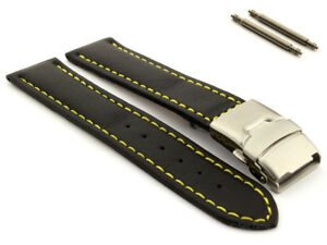 Men's Genuine Leather Watch Band Strap Deployment Clasp 18 20 22 24 26 Canyon MM