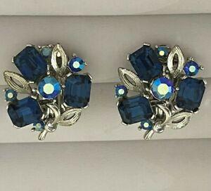 Vtg Signed Lisner  ST Clip Earrings Blue Rhinestones & Aurora Borealis  # 119