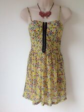 TOPSHOP 8 YELLOW BLUE PINK BLACK FLORAL TUNIC TOP HOLIDAY CASUAL HIPPY BOHO FAB