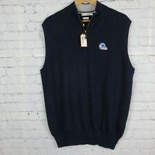 NWT $169.50 Peter Millar Mens Sz L Sleeveless 1/4 Zip Sweater Vest Merino Wool