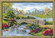 RIOLIS Cross stitch kit Summer View 1078, 38x26 cm, river and bridge landscape