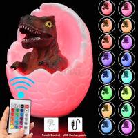 16 Colors Change 3D Dinosaur Night Light Egg Lamp Bedside Kids Room Decor Gift