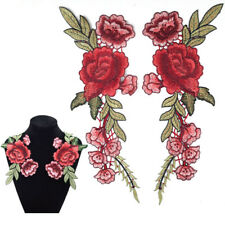 2 x Embroidery Rose Flower Sew On Patch Badge Bag Hat Jeans Dress Applique Craft