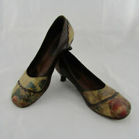 Studio F Made In Italy Floral Leather Heels Sz US 5.5 EUR 36 Vero Cuoio