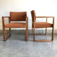 2 Orange Vintage Hiebert Mid Century Modern Wood / Walnut Office Chairs MCM