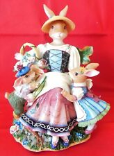 Discontinued Fitz & Floyd Old World Rabbits Music Box Dreaming of Home & Mother