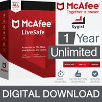 McAfee LiveSafe 2019 (Unlimited Devices/1Year) Internet Antivirus PC/Mac Licence