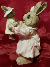Vintage Mother And Daughter Bunny Mervyns Figurine 1993 Pristine Condition