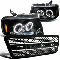For 2004-2008 Ford F150 LED Dual Halo Projector Headlights Black+Raptor Grille