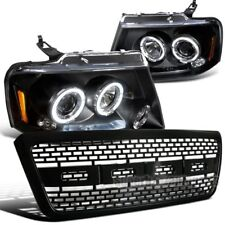 04-08 Ford F150 Dual Halo LED Projector Headlights Black + Raptor Bumper Grille