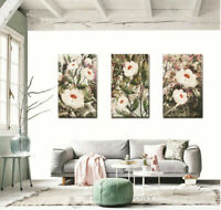 Set Of 3 Flowers Blossom Stretched Canvas Print Framed Wall Art Home Decor F84