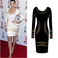 Womens Long Sleeve Bodycon Indie Mini Ladies Sexy Celebrity party Dress Size