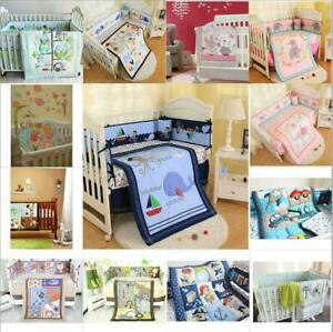 Infant 7pcs Bedding Set Cartoon Baby Crib Nursery Quilt Skirt Sheet Bumper Gift