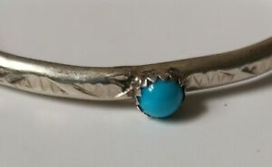 Signed Navajo Turquoise Cuff Bangle Bracelet NATIVE AMERICAN Sterling Silver