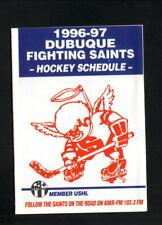 Dubuque Fighting Saints--1996-97 Pocket Schedule--Rafoth Furnace