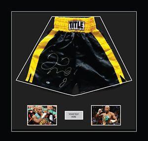 "Boxing Shorts Frame Floyd Mayweather With Free 2 X 6"" X 4"" Photos Black Mount"