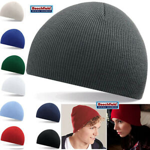 Beechfield Mens / Ladies Knitted Wooly Beanie Hat Warm Winter Ski Skull Cap