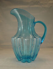 Beautiful Victorian Blue Glass W/Hand-Painted Enameled Flowers Pitcher 10 3/4
