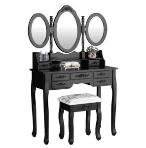 JAXPETY Makeup Vanity Table Set Tri Folding Mirror with 7 Drawer Makeup Dressing