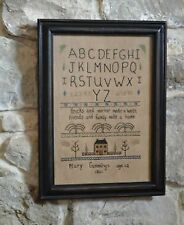 "FRAMED EMBROIDERY SAMPLER MARY CUMMINGS 1811 STITCHERY 11 x 11"" BLACK FRAME"