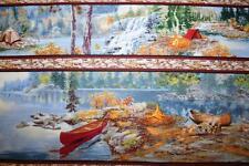 "OOP ""LAKESIDE CAMPING"" BORDER PRINT LAKE FISHING, CANOE, CABIN  OUTDOOR FABRIC"