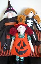 PRIMITIVE FOLK ART SEWING PATTERN 'TRICK OR TREAT'  HALLOWEEN RAG DOLLS