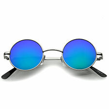 sunglass.LA Small Retro Lennon Style Colored Mirror Lens Round Metal Sunglasses