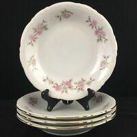 Set of 4 VTG Soup Bowls by Mitterteich Springtime Pink Floral Bavaria Germany