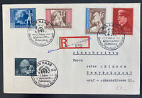 1942 the Hague Germany Registered first day Cover To Saar Semi Postal Stamps