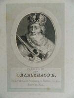 ancien gravure XIXe portrait CHARLEMAGNE P.Adam  Ménard & Desenne 1824