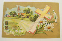 Eater Greetings Vintage Postcard Early 1900's Cross Church Flowers Field #5105